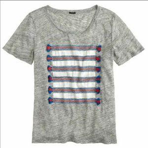 J.Crew Linen Striped Tassel Graphic Tee Shirt